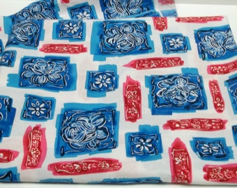 Blue red white poly cotton floral fabric sewing crafting project costume making