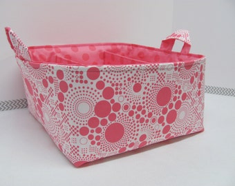 SALE Fabric Diaper Caddy - Fabric organizer storage bin basket - Perfect for your nursery - Lots of spots pink