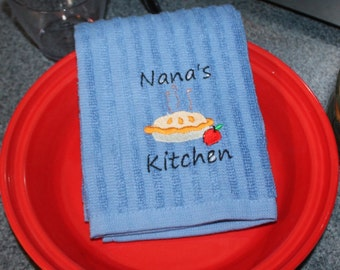 Embroidered Kitchen Towel- Nana's Kitchen with Pie-BLUE