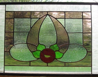 """Sale Pink Rose Stained Glass window Panel antique  frame antique style muffle glass, sun catcher,  10.5"""" x 13.5"""" rectangle"""