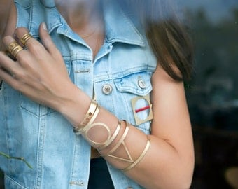 Triangle Wide Bangle,Bracelet-Geometry Collection-Handcrafted Gold Plated Brass