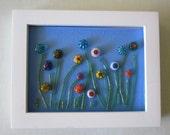 Flower Garden Fused Glass Framed