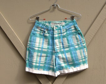 90s vintage Unionbay Plaid Cotton Twill Denim Cuffed High Waist Shorts