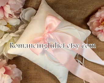 Simple Elegance Luxe Bow Ring Bearer Pillow...You Choose Your Colors..Buy One Get One Half Off..shown in white/pale pink