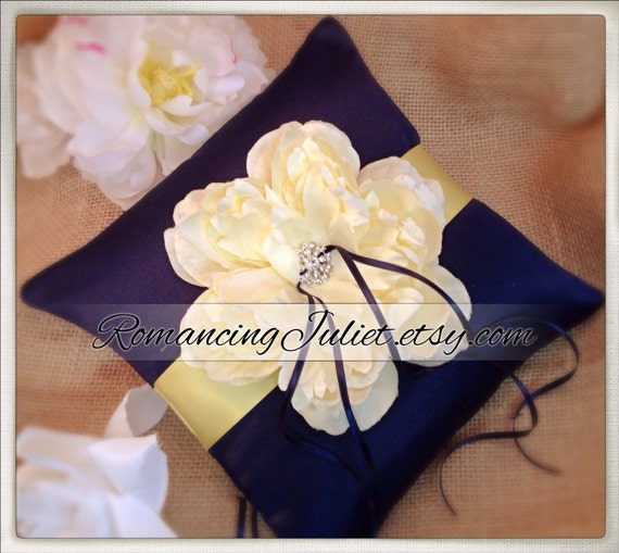 Romantic Bloom Ring Bearer Pillow with Crystal Rhinestone Accents..shown in navy blue/butter yellow/ivory
