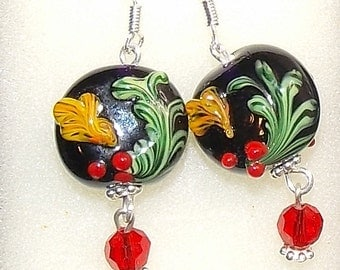 lampwork glass beads sterling and crystal earrings