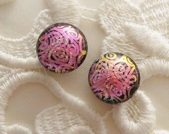 Pink Earrings - Dichroic Earrings - Stud Earrings - Post Earrings - Fused Glass - Glass Earrings - Small Post X1327