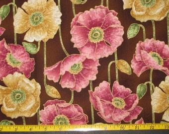 Poppies Design Fabric Yardage Destash 1 1/8 Yard