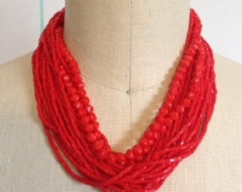 "17"" Red Multi strand Vintage Necklace"