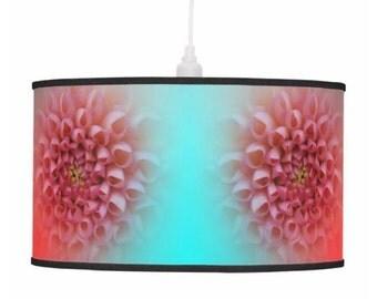 Pink lamp stand, drum pendant lamp shade, chrysanthemum lamp, turquoise lamp shade, flower photo lamp, hanging lamp shade, pastel pink shade