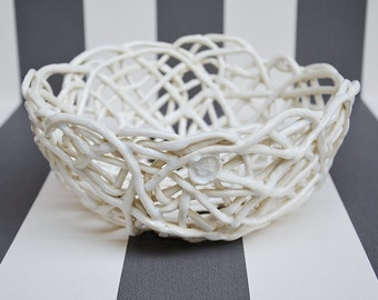 Porcelain Paperclay Filigree Bowl in white- Made to order  - BIG   20 cm diam - Porcelain paperclay