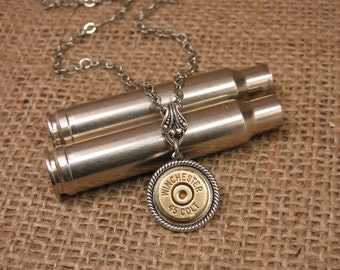 Bullet Jewelry - Conservative, Yet Edgy Brass 45 COLT Single Bullet Casing Pendant Silver Necklace - Quality Construction, Soldered Chain