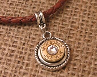 Bullet Jewelry - Bullet Charms - European Style Rope Bezel Bullet Charm - Bullet Pendant