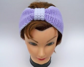 Bow Headband - Crochet Ear Warmer In Pastel Purple And White - Turban Headwrap - Women's Hairband - Hair Accessories - Crocheted Bow