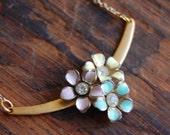 Upcycled Flower Trio Brass Bar Bib Necklace