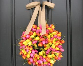 Tulips, Front Door Wreath, Door Wreaths, Spring Tulips, Mother's Day Wreath, Easter Wreaths, Easter, Tulips, Pink Tulips, Yellow Tulips