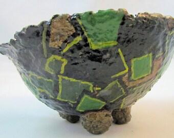 Bowl - Paper Mache, Green squares. Decorative table art.
