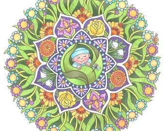 Baby's Garden; A Mandala that can be customised for baby boy. Name can be printed in flowers centers circling the design.