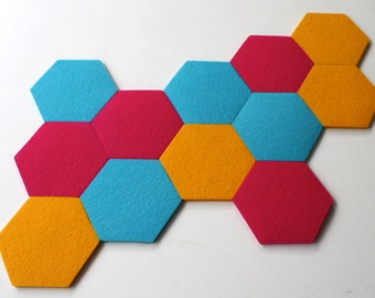 NEW! Hexagon Trivet KIt in 5mm Thick Virgin Merino Wool Felt-12 piece