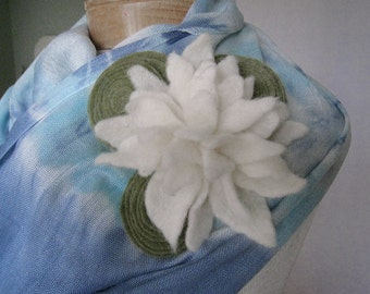 Hand dyed Blue Infinity Loop Scarf with felted flower wool brooch Ready to ship