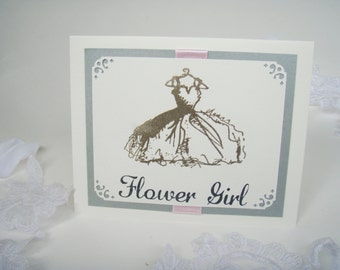 Handmade Card- 4x5.5- Inside is Blank- Wedding- Flower Girl- Maid/Matron-Embossed with dress and crystals