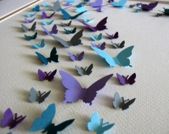11x14 Teal, Purple, Turquoise, Gray 3D Butterfly Art or YOUR Colour Choices. Wall Art. Home Decor