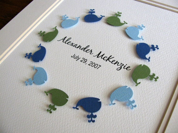 3D Personalized Name Circle. Whales, Fish, Bunnies, Lambs. YOU CHOOSE Colours & Shape. 8x8 inches. Made to Order