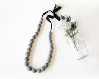 Felted Bead Necklace on Satin Ribbon - heathered gray
