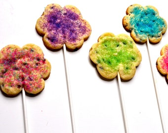Flower Cookie Lollipops - Two dozen custom flower favors