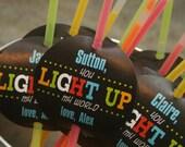 Printable personalized Glow Stick Valentine tags