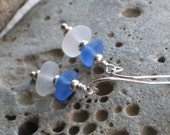 Natural Sea Glass Cornflower Blue Frosty White Earrings (630)