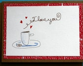 I love you card, anniversary, birthday, coffee cup and cookie, red and brown, kraft, watercolor, hearts