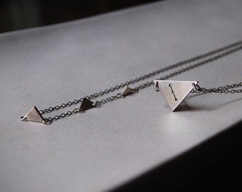 Mini Secrets of the Pyramids Necklaces- Layered Triangle Necklaces- Two Custom Constellation and Zodiac Design