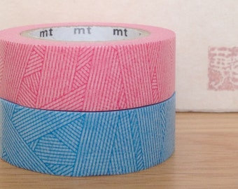mt washi masking tape -  Messy - magenta pink  and cyan blue