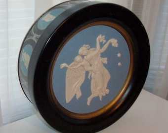 Slate Blue Cameo Greek Tin Cookie Box (Code v)