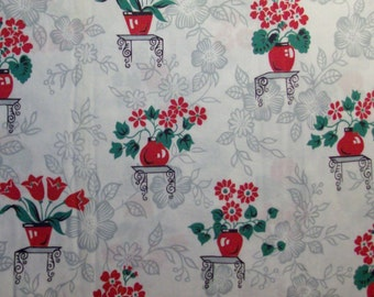 Red Flower Pot Cotton Fabric by the Yard