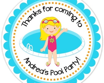 Pool Party Stickers, Birthday Labels, Personalized Pool Party Stickers, Birthday Decoration, Pool Party Favors, Swimming Pool Favors