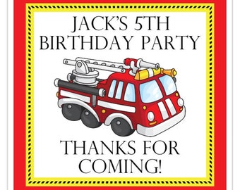 Fire Engine Birthday Stickers, Custom Fire Truck Birthday stickers, 2 inch SQUARE, Personalized Children Stickers, Personalized for YOU