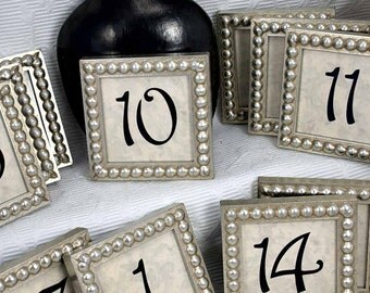 10 Square 3x3 Inch Framed Table Numbers in Silver Boules for Weddings and Corporate Events