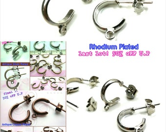 final Lot -50% / D206RH / 12Pc / Loop diameter 11mm - Rhodium Plated Thick Curved Loop Ear Studs with Ear Backing