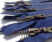 YKK Metal Teeth Zippers-  Dark Blue Antique Brass Donut Pull-Color 919 Navy- 5 Pieces- Available in 6,9,10, 11 and 14 inches