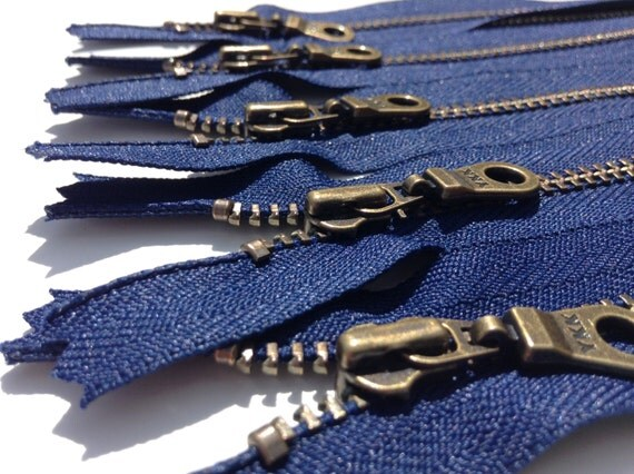 YKK Metal Teeth Zippers-  Dark Blue Antique Brass Donut Pull-Color 919 Navy- 5 Pieces- Available in 10, 11 and 14 inches