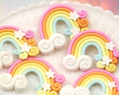 Rainbow Cabochons - 50mm Huge Pastel Fimo Magical Stars Clouds Rainbow Polymer Clay Flatback Cabochons - 3 pc set