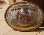 Justin Belt Co Nickel Silver Horse Western Belt Buckle