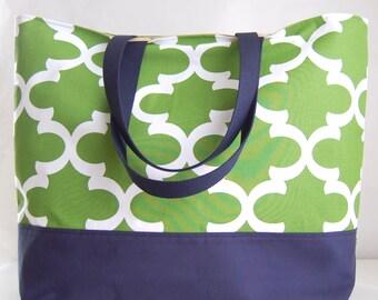 Green Fynn XL Extra Large Beach Bag / BIG Tote Bag - Ready to Ship