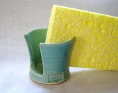 Sponge Holder in Turquoise Cleaning Accessory for Kitchen or Bathroom Sink