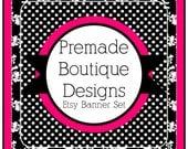 Hot Pink and Black Floral Polka Dot Premade Etsy Banner Set - Etsy Shop Banner Set - Etsy Banner Set - Premade Etsy Kit - 79172271