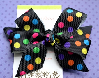 Party Dots on Black Classic Diva Bow