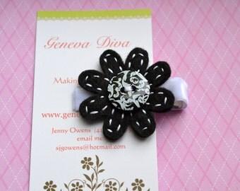 Black and White Damask Felt Flower Clip