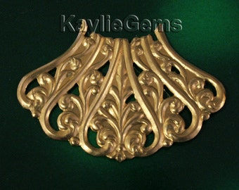 Filigree Stamping Frame Finding Art Nouveau Baroque Victorian Motif  Raw Brass  -FI-R0610- 2pcs